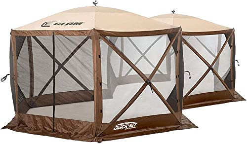 Quick-Set Excursion Pop Up 2 Room Outdoor Camping Gazebo Canopy Screen Shelter
