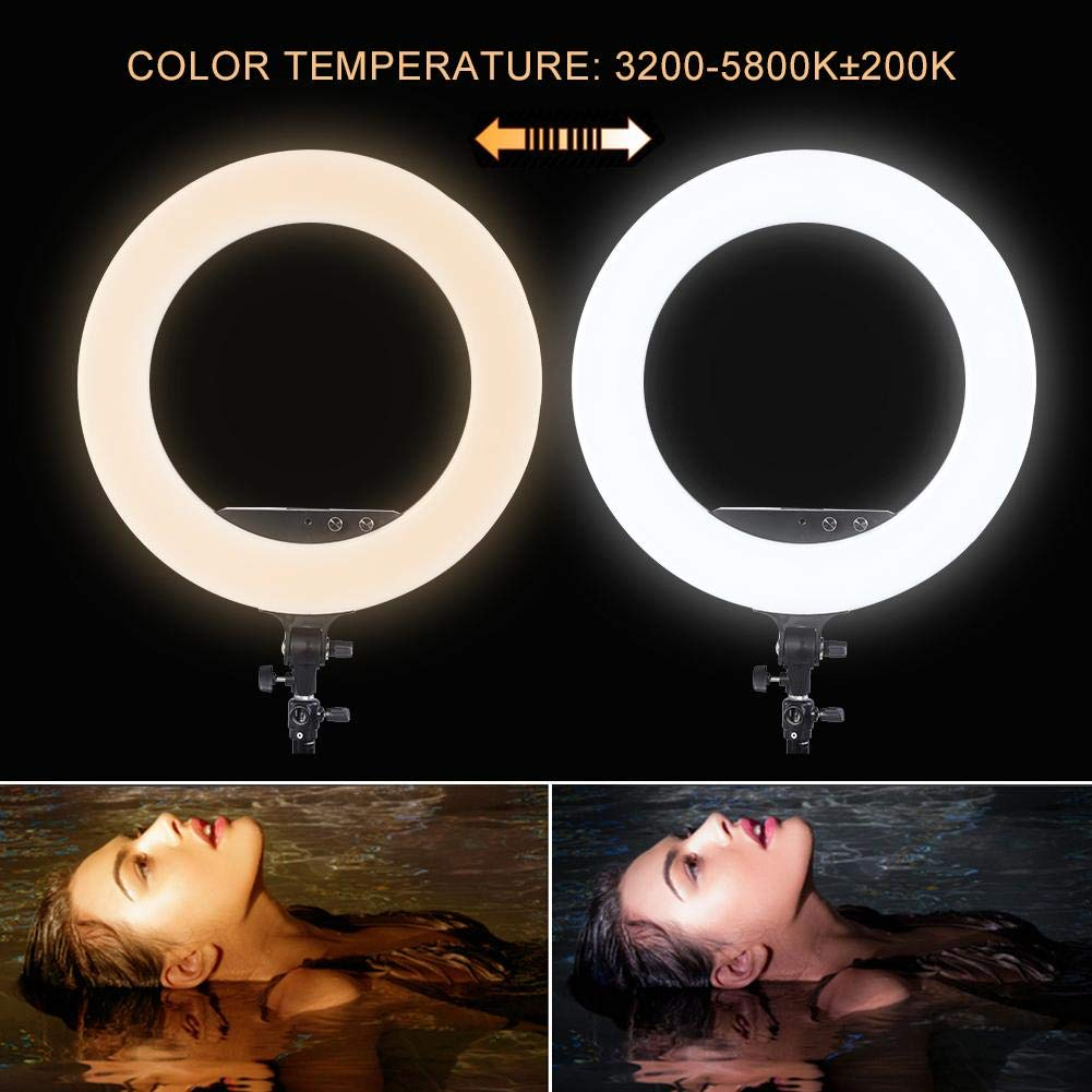 fosa Selfie Ring Light Mini 480LED Ring Shape Cell Pone Fill Light with Cell Phone Clip Portable Strap Carrying Bag Supplement Selfie Video Lamp for Live Stream Makeup LR-980A by fosa (Image #4)