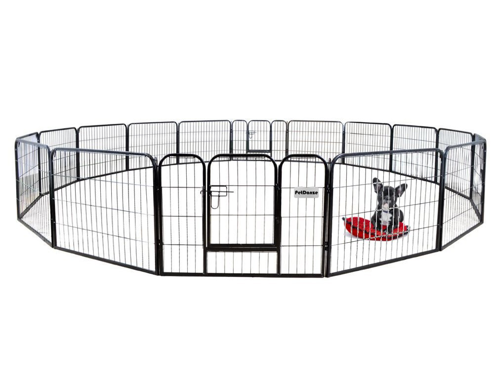 PetDanze Dog Pen Metal Fence Gate Portable Outdoor | Heavy Duty Outside Pet Large Playpen Exercise RV Play Yard | Indoor Puppy Kennel Cage Crate Enclosures | 24'' Height 16 Panel