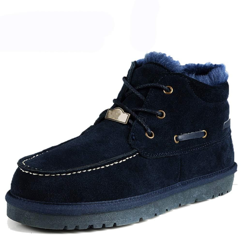 Qiusa Pelz gefütterte Outdoor Schnürstiefel für Männer aus echtem Leder Rutschfeste atmungsaktive Stiefel (Farbe   Dunkelblau, Größe   EU 43)