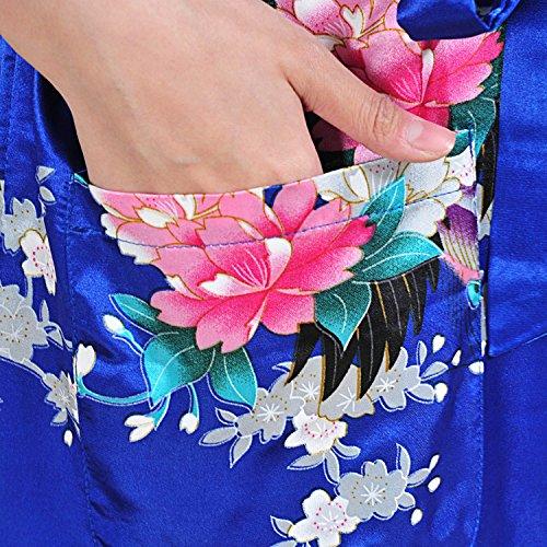 UTOVME Mujeres Kimono Largo Albornoz Pijamas de Seda, Camisión Estampado de Pavo Real para Spa Fiestas Azul Real