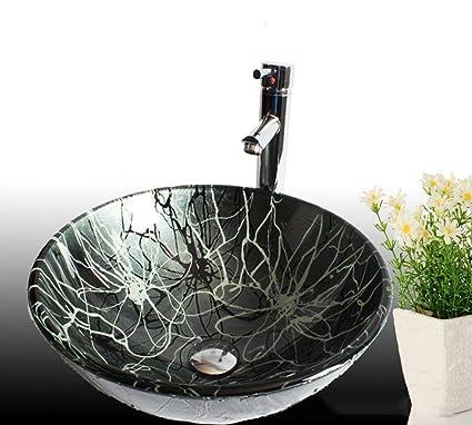 GAOLI Lavabo Rond en Verre pour lavabo, Art créatif rétro ...