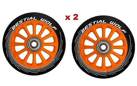 Bestial Wolf PILOT-13717-XX2 Pack Dos Ruedas Originales diámetro 100 mm Color núcleo Naranja y Goma Color Negro