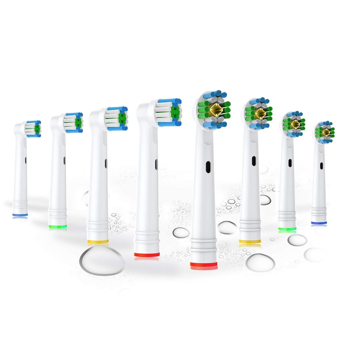 BUKURII Replacement Toothbrush Heads set,includes 4 3D White,4 Daily Care Clean Replacement Brush Heads ,Compatible with Braun Oral-B Electric Toothbrushes-8pcs