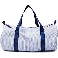Kids Travel Overnight Bag Seersucker Carry On Lightweight Weekender Duffel Bag for Boys and Girls (Navy)