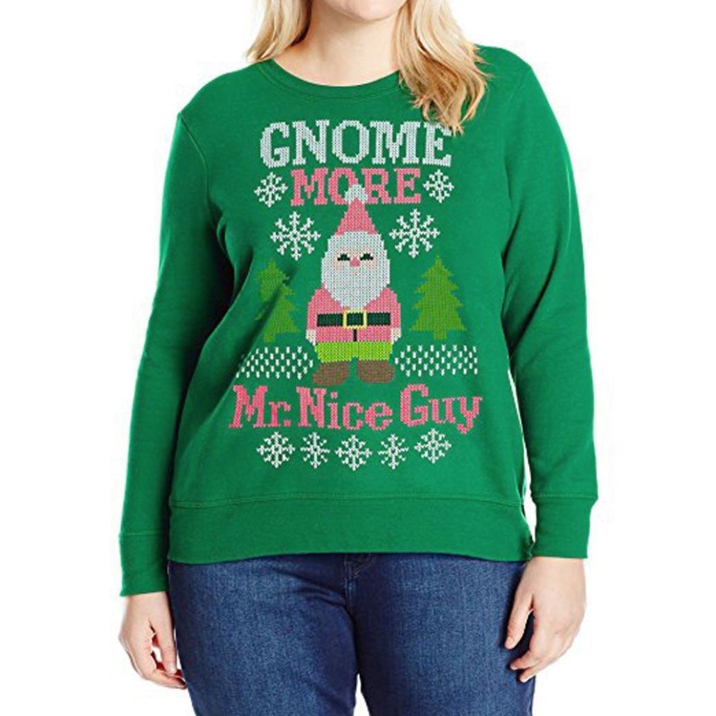 レディースクリスマス文字カジュアルスウェットシャツ長袖シャツブラウスゆったりプラスサイズTop B077D3Q4S2 X-Large|Green (GNOME MORE) Green (GNOME MORE) X-Large