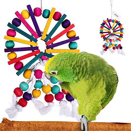 Toy Parrot Mirror - QBLEEV Parrot Cage Chewing Toys Bird Rope Wood Beads Toy For Small Medium Cockatiel Macaw Conures Parakeets Macaw African Greys Birdcages Accessories