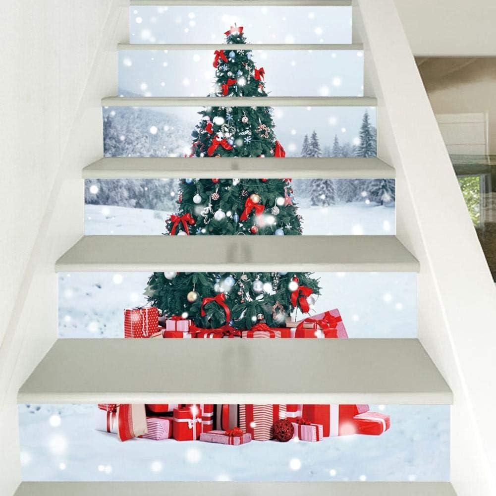 Jannyshop 6 UNIDS Patrón de Árbol de Navidad Pegatinas de Pared Pegatinas de Escalera para Navidad 3D Pegatinas de Escaleras Decoraciones: Amazon.es: Hogar