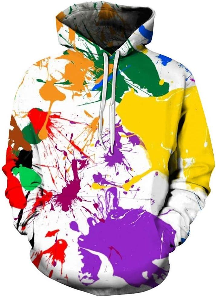 3D Impresa Sudadera con Capucha, Fresco Unisex de Moda Sudadera 3D Impreso Colorido de Pulverización de Pintura de Gráficos Personalidad de La Manera Outwear con Grandes Bolsillos Streetwear Sudadera
