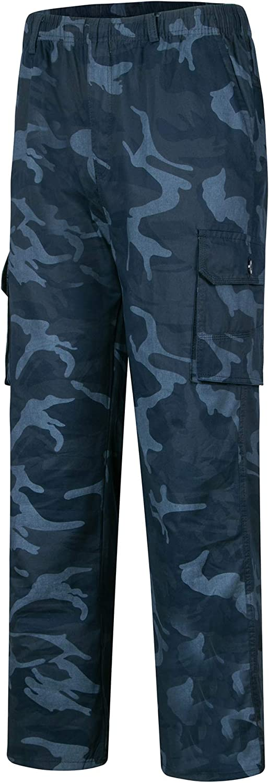 Mens Elastic Waist Cargo Combat Trousers Multi Pockets Loose Long Pants Bottoms