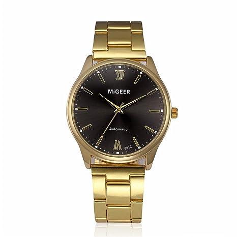 JiaMeng Reloj de Pulsera de Cuero para Senora Mujer Reloj de Acero Inoxidable cristalino de Hombre de Moda(A): Amazon.es: Ropa y accesorios