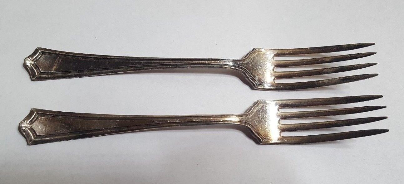 Pair of 1881 ROGERS A1 Silverplate Dinner Forks Set of 2