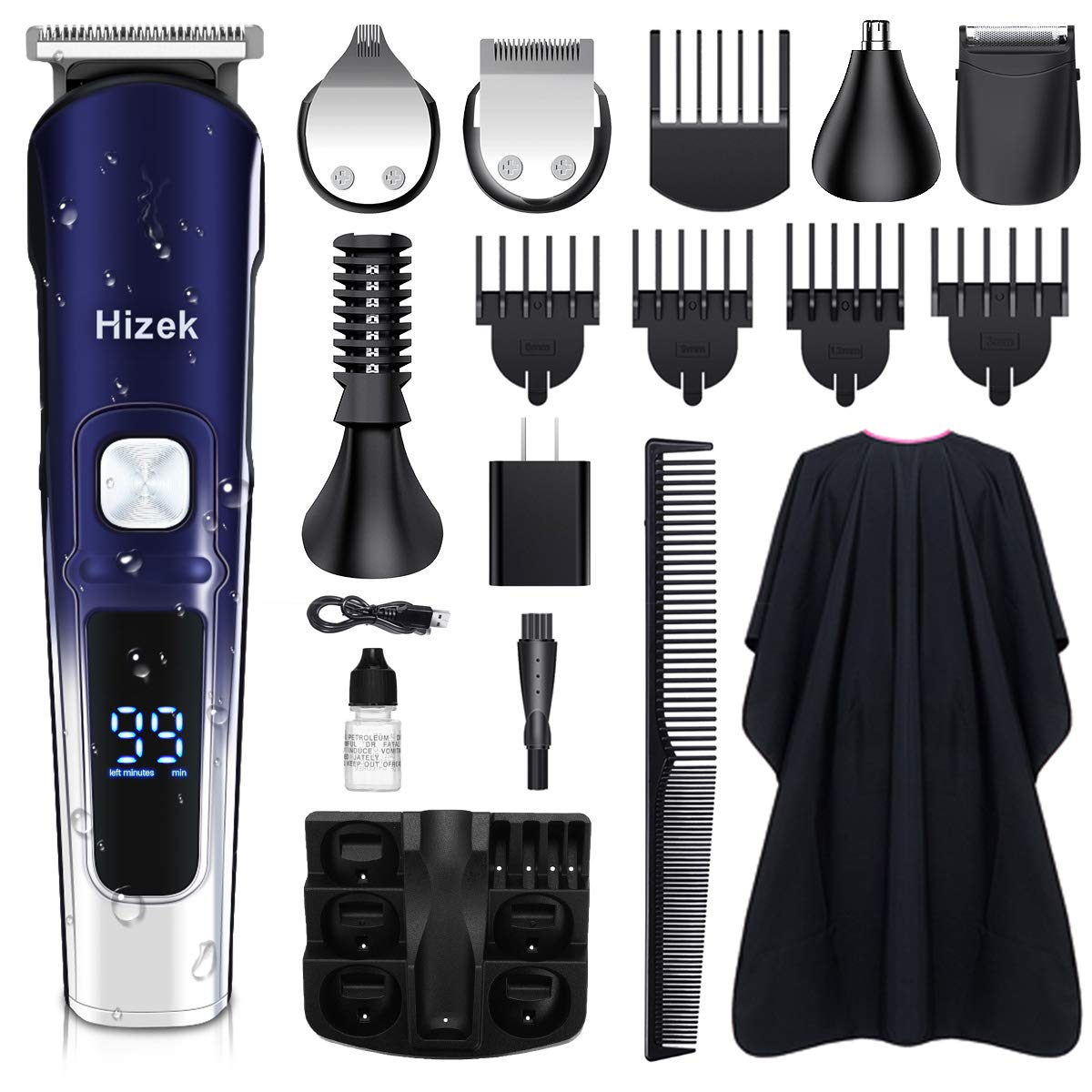 Beard Trimmer, Hizek Hair Clippers for Men Cordless Hair Trimmer Waterproof Trimmer Grooming Kit with 2 Adjustable Speed, Hairdressing Cape, LCD Display, Stand Base, Body Groomer for Beard Nose Hair