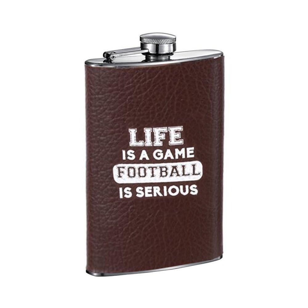 即日発送 Football Game B07982CRJ6 LeatheretteテクスチャTailgating Sayings 8オンスステンレス鋼フラスコ、ブラウンでギフトボックス ブラウン ブラウン Life Is A Game B07982CRJ6, 菊池市:ad1db944 --- a0267596.xsph.ru