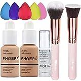 PHOERA Foundation 104 and 105 & Face Primer,Liquid Full Coverage Foundation Set,Foundation Brush Powder Brush,5 Makeup Sponge