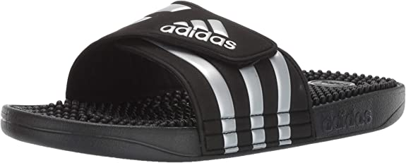 adidas Women's Adissage Slides, Black/Silver Metallic/Black, 9 M US