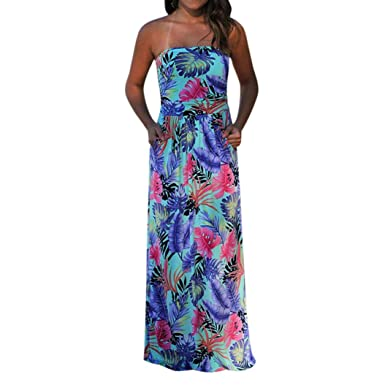b43b590c7ff4b Elogoog Women s Boho Floral Printed Sexy Off Shoulder Strapless Party Gown  Maxi Long Dress (Blue