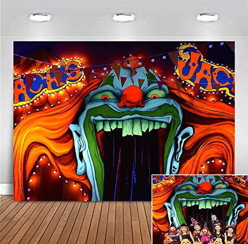 Evil Haunted House Horror Circus Background Photo Booth Studio Props Supplies Halloween Party Banner Scary Entrance Photography Backdrop Decorations 5x3ft Vinyl Creepy Giant Clown Birthday