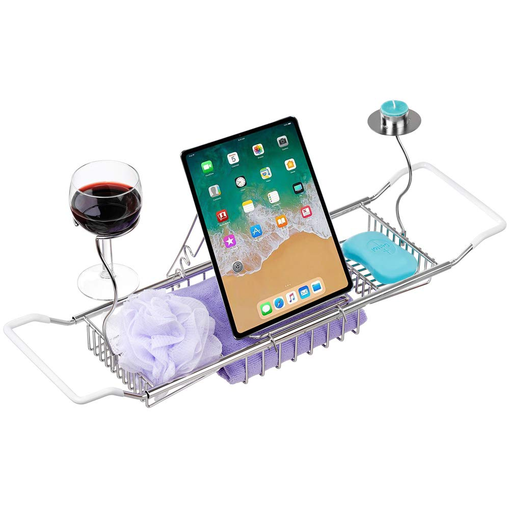blitzlabs Bath Tub Caddy Stainless Steel Bathtub Tray with Wine Glass Shelf, Book Holder, Candlestick - Extending Handle Shower Organizer Rack - Bathroom Accessories