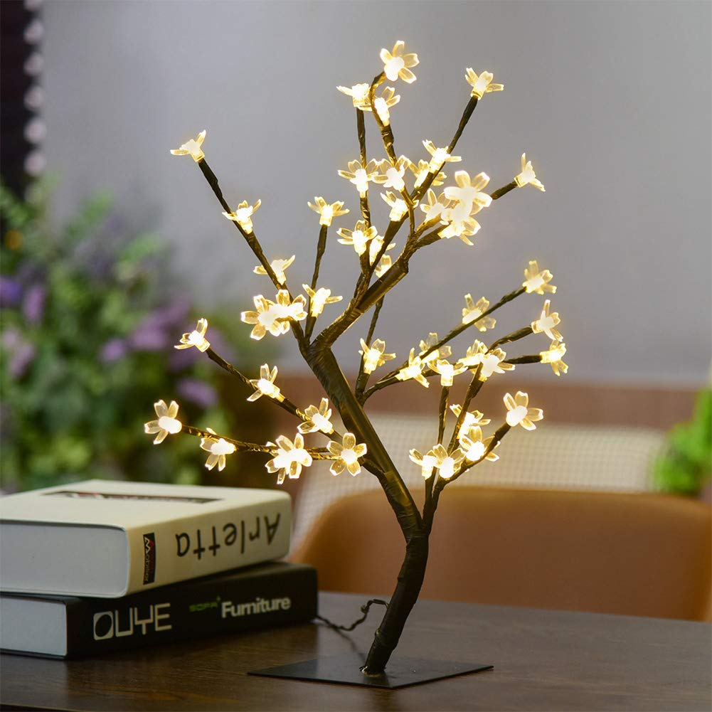 Indoor Fairy Lights, Battery Operated Cherry Tree Fairy Lights Stable Lamp Bendable Desk Light with 48 Warm White LED Lights for Bedroom Outdoor Garden Wedding Party Christmas Decoration (Warm White)