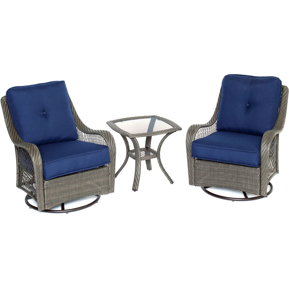 Hanover ORLEANS3PCSW-G-NVY Orleans 3 Piece Swivel Rocking Chat Set, Navy Blue Outdoor Furniture by Hanover