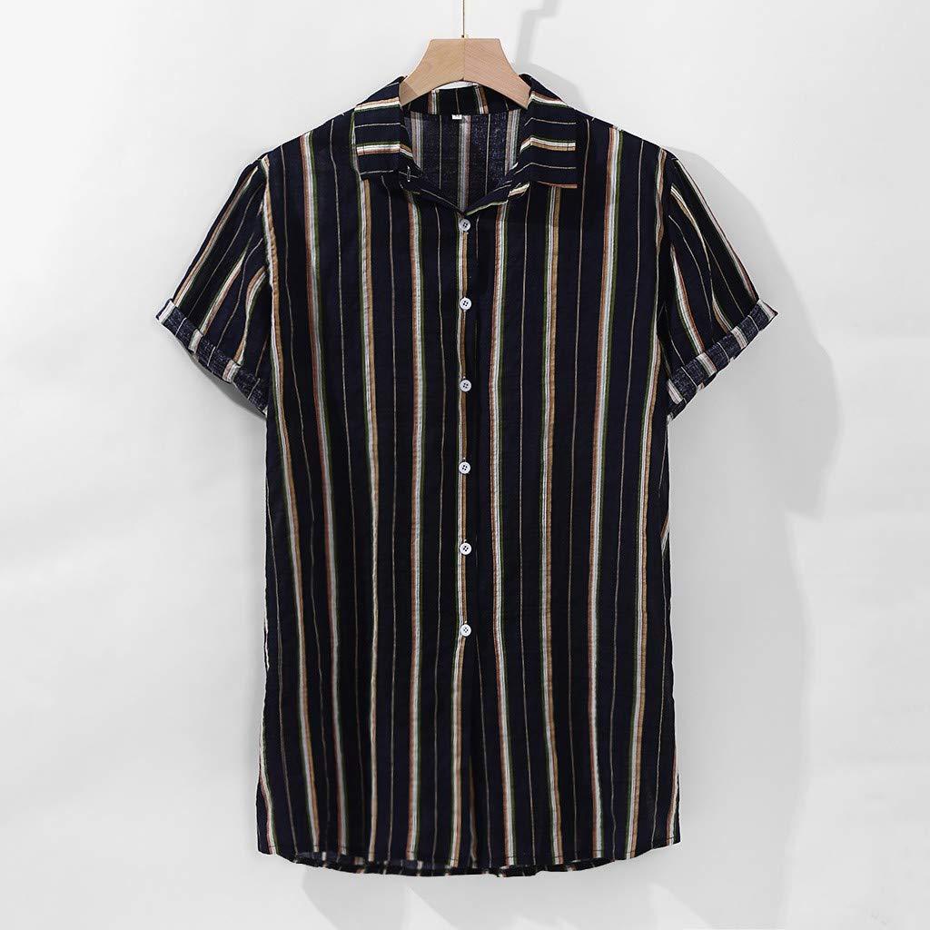 Yajiemen Mens Colorful Stripe Summer Short Sleeve Loose Buttons Casual Shirt Blouse