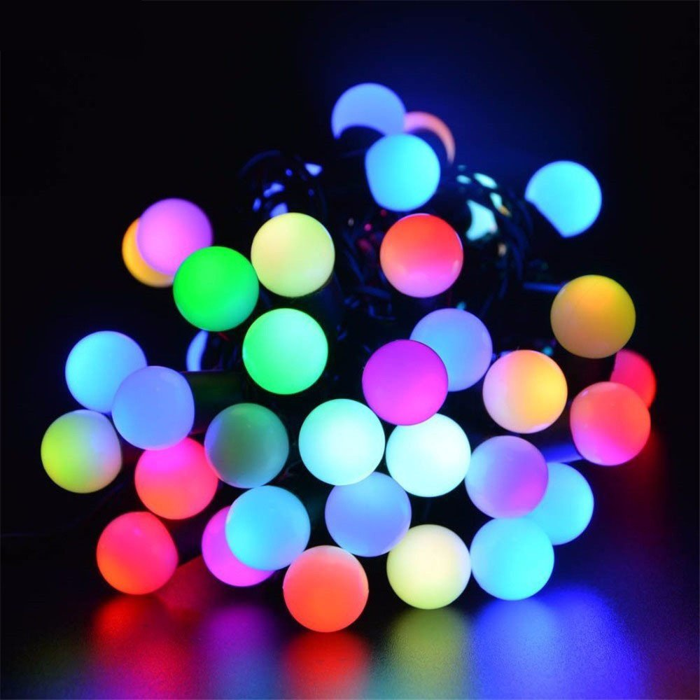 Hulorry Waterproof String Lights, Outdoor Solar String Lights 50 LED Ball String Lights Holiday Party Decoration Lights for Home, Lawn, Wedding, Patio, Party and Holiday Decorations,Colorful by Hulorry