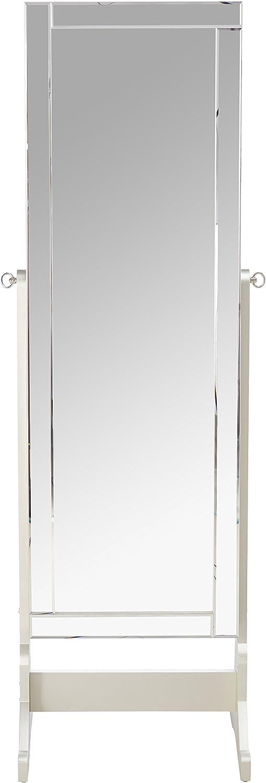 Iconic Home Glitzy Contemporary Classic Silver Crystal-Border Cheval Mirror Jewelry Armoire