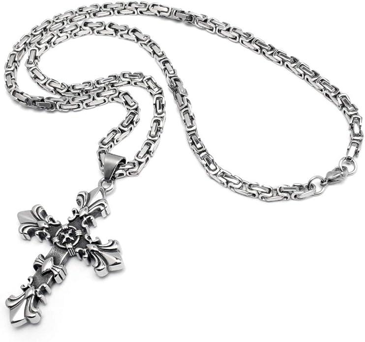Schmuck Checker Lilien Kreuz Anhänger aus 316L Edelstahl Silber Fleur de Lis Königskette Halskette Kette Gothic Kreuz Bikerschmuck Männerschmuck