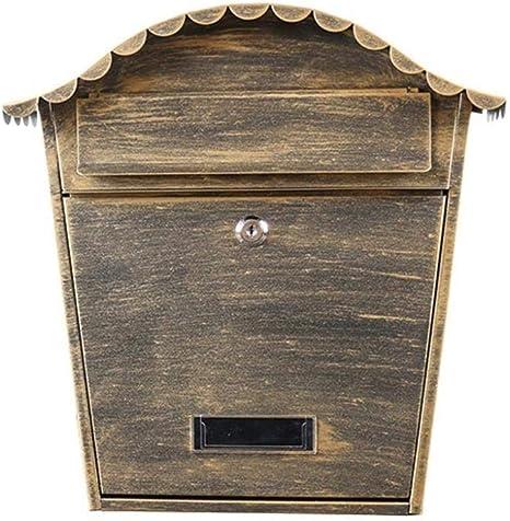 24.5X8.2X34.5cm mailbox WangQ Mailbox European retro wall-mounted aristocratic letter box decoration waterproof anti-theft lock mailbox