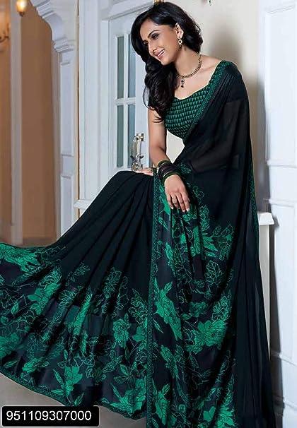 39e5f80582 Amazon.com: Designer Georgette Printed Formal Casual Thin Border Saree Sari  Blouse Indian Dress Pakistani Indian Women Eid Rakhi 2874: Home Improvement