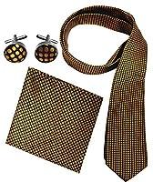 Peach Couture Men's Silk Feel Necktie Cufflinks Pocket Square Handkerchief Set