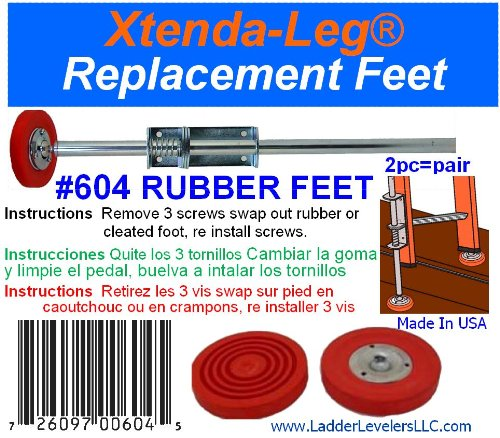 Ladder Accessories 604 Replacement Rubber Feet for 600c Pair – Red by LADDER ACCESSORIES (Image #2)
