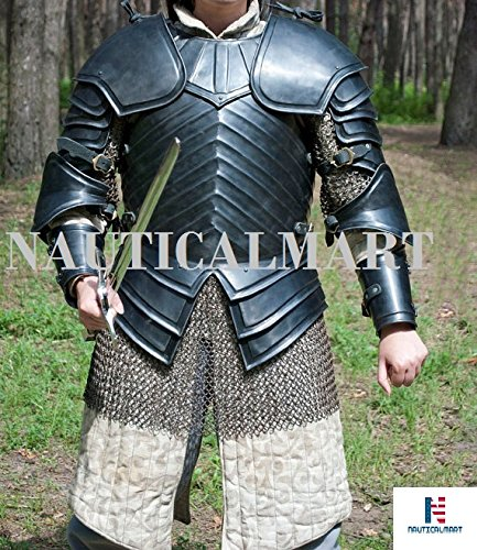 NAUTICALMART SCA Combat Armor, Brienne of Tarth Armor Suit. 18ga Steel Blackened Halloween -