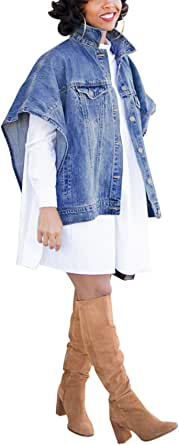 Antique Style Womens Fashion Loose Denim Cloak Coats Washed Destroyed Denim Jackets Outerwear Vests