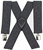 Mens Suspenders Wide Adjustable and Elastic Braces Shape with Very Strong Clips Heavy Duty Work Suspenders(Grey)