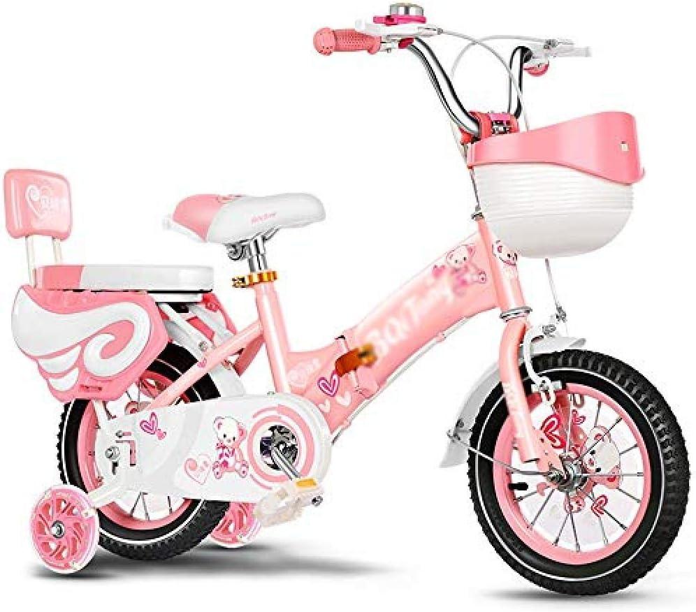 FesiAq con Cesta de AlmacenamientoRespaldo de SeguridadLED Flash Assist WheelNiño y niña Bicicleta12/14/16/18