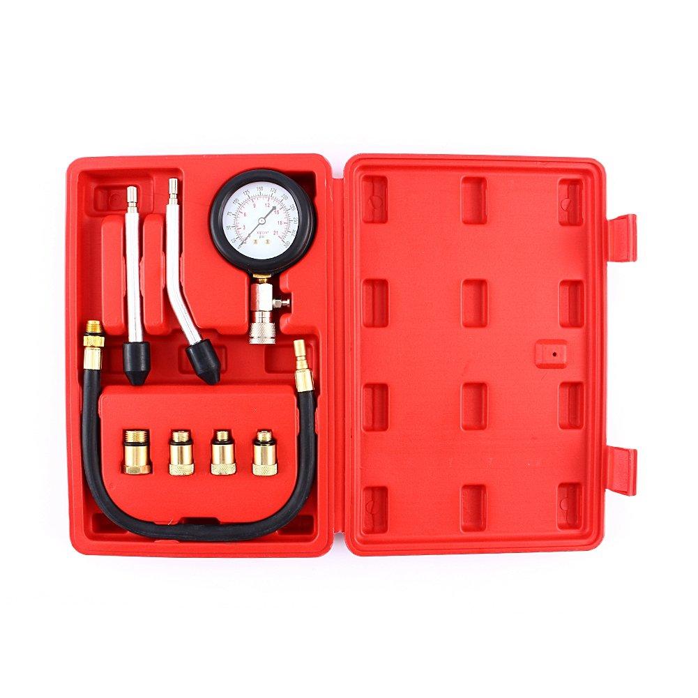 SOULONG Kit de Testeur de Compression Coffret de Compressiom/ètre avec 4 Adaptateurs pour Moteur /à Essence