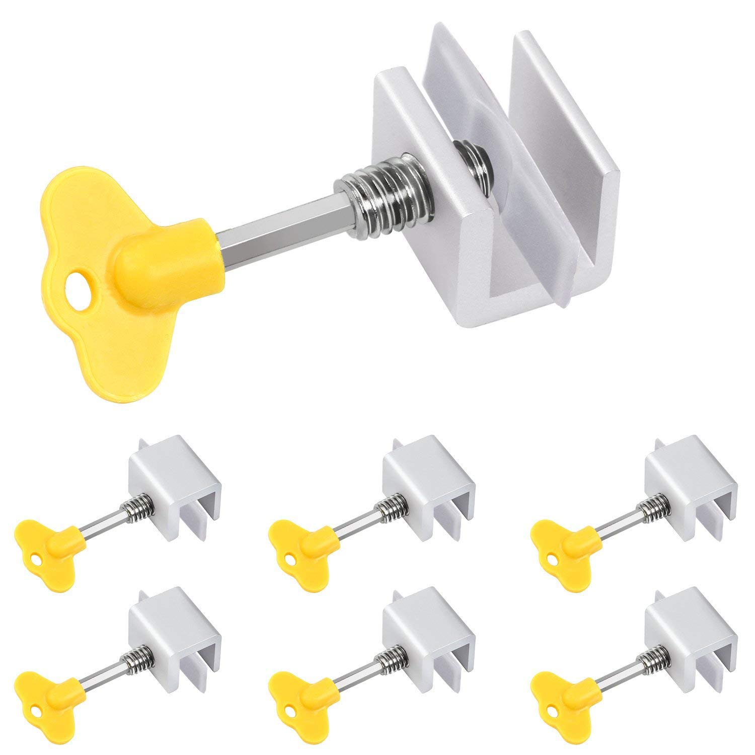 Window Locks-Sliding Window-Sliding Window Lock-Window Stop-Adjustable Sliding Window Locks Stop Door Frame Security Locks Keys【8 Pieces】
