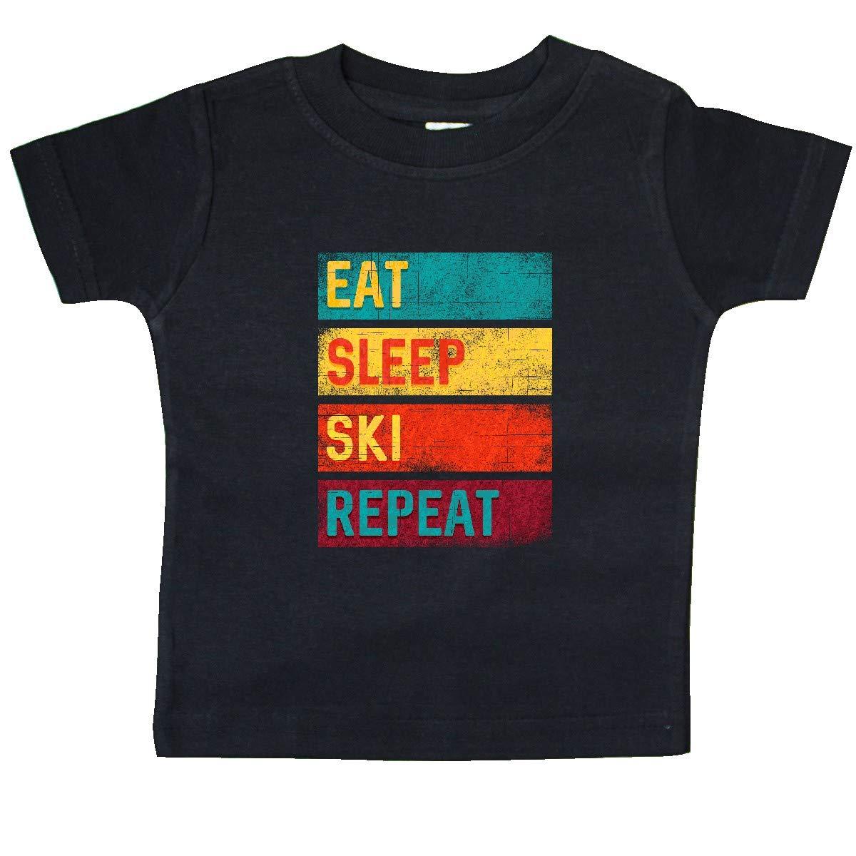 inktastic Skiing Eat Sleep Ski Repeat Baby T-Shirt