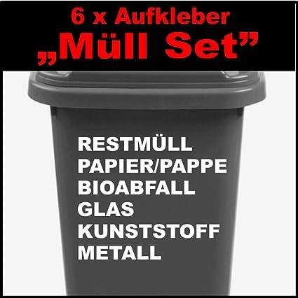 6 Teiliges Mülltonnen Aufkleber Set Ca30 Cm Restmüll Bioabfall Metall Papier Pappeglass Kunststoff Aufkleber Für Mülltonen Müll Trennen