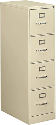 Hon 510 Series Ltr-size 4-drawer Vert. File w Lock-4-Drawer Letter File, Vertical, 15 x25 x52 , Light Gray