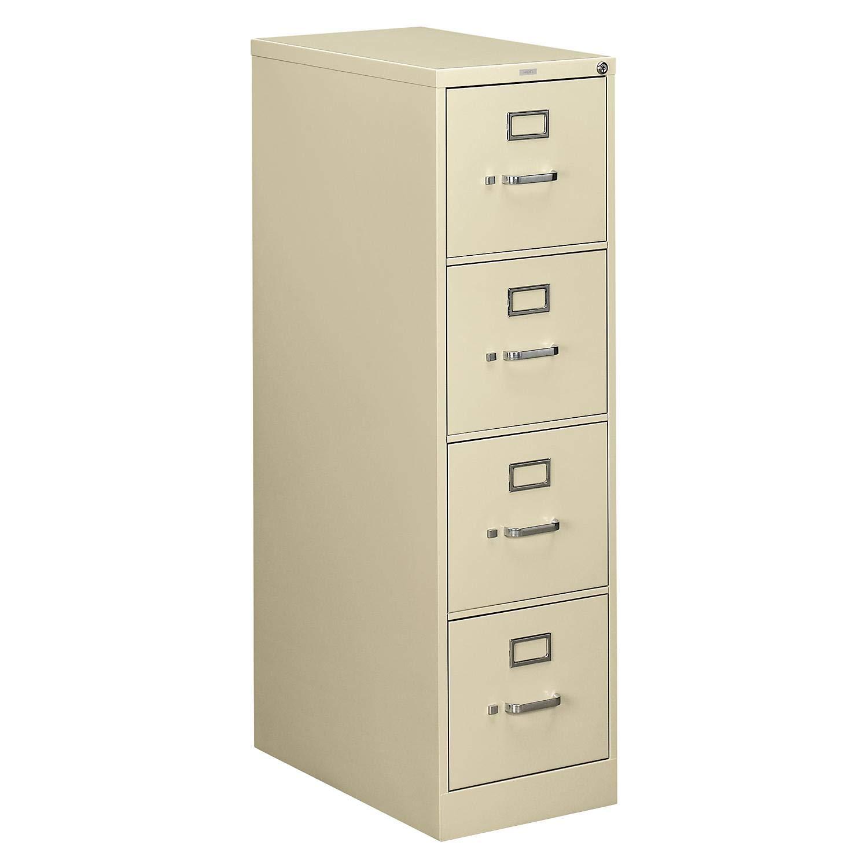 Hon 510 Series Ltr-size 4-drawer Vert. File w/Lock-4-Drawer Letter File, Vertical, 15''x25''x52'', Light Gray