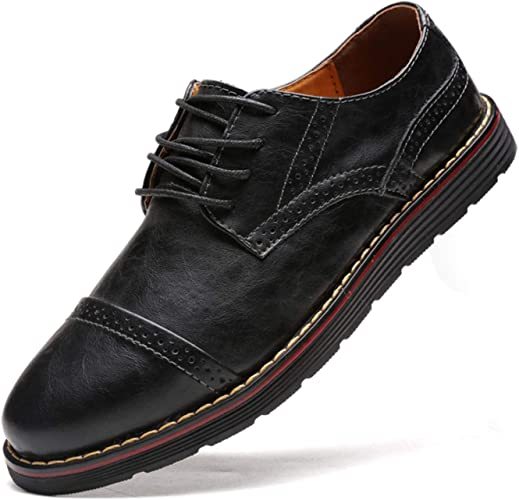 Men Brogue Genuine Leather Shoes Formal Dress Wedding Oxfords Lace-Up Business