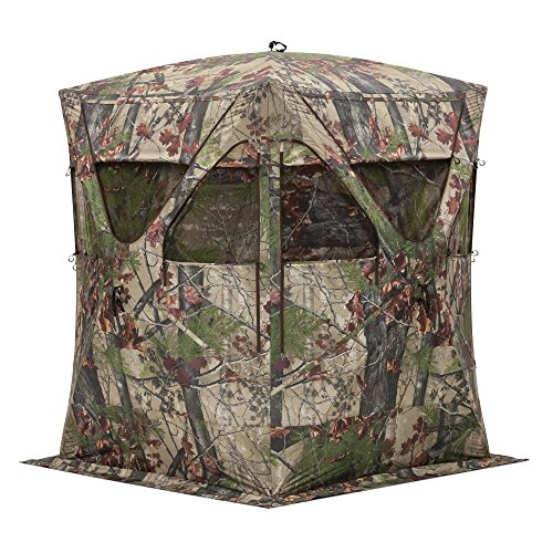 Barronett Big Mike Ground Hunting Blind, 2 Person Pop Up Portable, Backwoods Camo (Big Mike Hunting Blind)