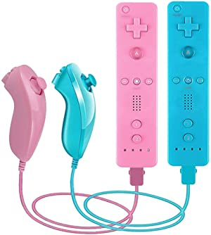 VTone 2 Packs Gesture Controller and Nunchuck Joystick with Silicone Case and Wrist Strap Compatible for wii/wii u Console (Pink and Blue)