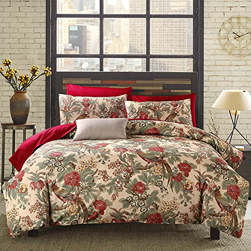 HNNSI Magpie Duvet Cover With Buttons Enclosure, 60s Long Stapled Cotton Luxury American Country Style Home Collections Bedding Sets Full Size (Magpie, Full) by HNNSI