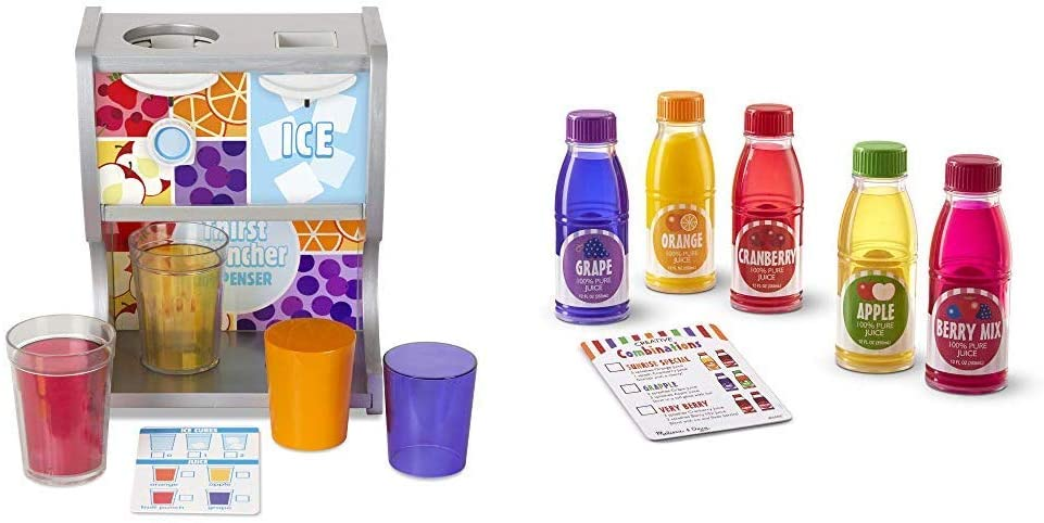 Melissa & Doug Wooden Thirst Quencher Drink Dispenser (10 Pieces, Best for 3, 4, 5, 6, and 7 Year Olds) & Tip & Sip Toy Juice Bottles (Play Food Set, 6 Pieces, Best for 3, 4, and 5 Year Olds)