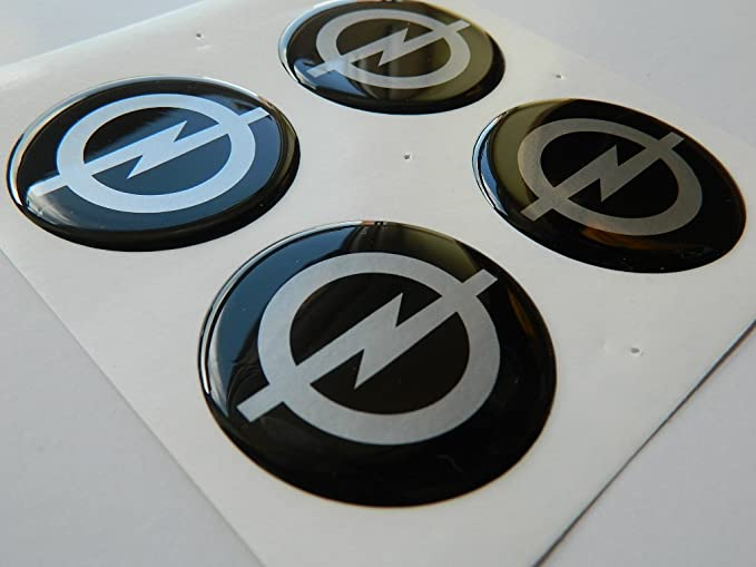 OPEL Juego de 4 emblemas autoadhesivos de emblema de plástico de 50 mm para solicitar cubiertas de cubos: Amazon.es: Coche y moto