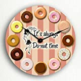 Cheap It's Always Donut Time Retro Theme Doughnut 12″ Silent Wall Clock
